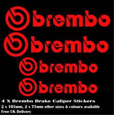 4 x BREMBO Brake Caliper Decals Stickers - FRONT & REAR High Temperature