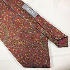 "Coach Designer Mens 100% Italian Silk Paisley Neck Tie Burgundy Multi 3 7/8""/55"""