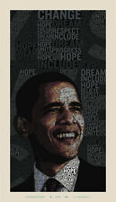 "Barack Obama Words of Change Offset Print by Gui Borchert 23"" X 40"" Ed 5000"