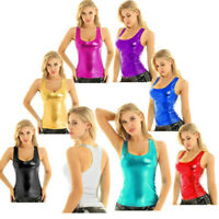 Sexy Womens Shiny Metallic Tank Top Vest Sleeveless Summer Camisole Blouse Tops