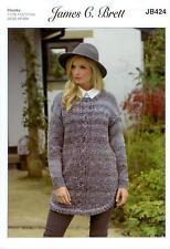 James C Brett JB424 Knitting Pattern Womens Sweater in Marble Chunky Glamour