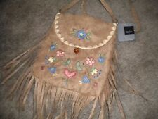 Mossimo cute beige fabric shoulder bag with floral embroidery NWT