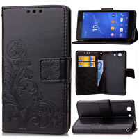 Four Leaf Clover Strap Leather Wallet Card Case Stand Cover For Samsung Phone SD