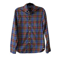 J Crew Mens Slim Fit Size S Rainbow Plaid Washed Cotton Shirt Blue Red Green #b8