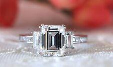 3.35 Ct Three Stone Emerald Cut Unique Engagement Wedding Ring 9K White Gold