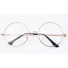 Women Men Cool Large Oversized Cute Metal Frame Clear Lens Round Eye Glasses