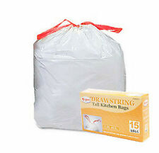 105~ 13 Gallon Drawstring White Tall Kitchen Trash Can Liner Bags Garbage Clean