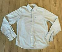 Abercrombie & Fitch Men's Casual Shirt White Blue Striped Long Sleeve XL