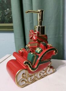 """Holiday Time ceramic lotion soap pump Santa with gifts sleigh red 5""""w x 7"""" h"""