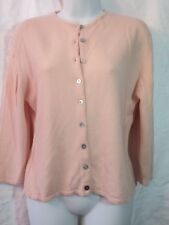 Central Park West L Pink 100% cashmere Ladies ¾ sleeve cardigan sweater