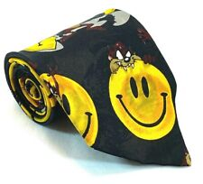 "Looney Tunes Mania Mens Tie 100% Polyester 57"" 4"" USA Taz Black Brown Yellow"