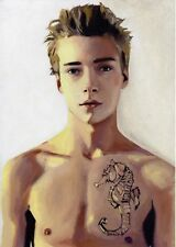 print from original oil painting men young boy nude male drawing gay interest L
