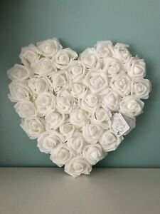 White Foam Roses Heart Wall Hanging Decoration 30cm - Wedding, Mothers Day etc