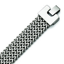 Chisel Stainless Steel Polished Woven Bracelet 7.5""