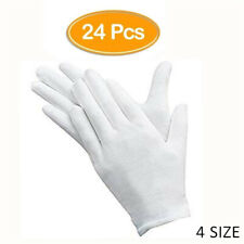 24 Stück weiße Handschuhe, 12 Paar weiche Baumwollhandschuhe, Münzschmuck Silber