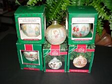 Lot of 6 - complete set - BETSEY CLARK - Home For Christmas glass ball ORNAMENTS