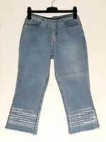 Ladies Marks And Spencer Cropped Frayed Jeans UK Size 10M W26 L23 Washed Blue