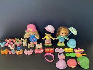 Fisher Price Snap N Style 3 Dolls And 34 Piece Hats Shoes Clothes Umbrella Acces