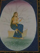 "India Hindu Miniature painting Shiva Radha with Dove on hand on silk 8.5 x 11"""