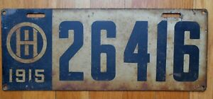 Original Vintage 1915 Ohio Steel Painted License Plate No. 26416