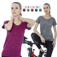 Women Fitness Workout Yoga Running Quick-dry T Shirt Gym Short Sleeve Tops