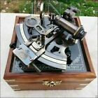 Antique Collectible Nautical Working German Marine Brass Sextant w  Wooden Box