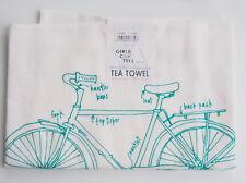 Girls Can Tell Bicycle Bike Pattern Floursack Tea Towel USA Made Handprinted NEW