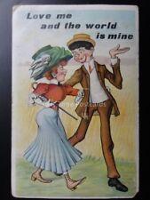 Love & Romance Theme LOVE ME AND THE WORLD IS MINE c1911 - Comic Postcard