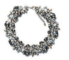 Genuine Zara Grey Crystal Large Gem Choker Collar Bib Statement Necklace N284