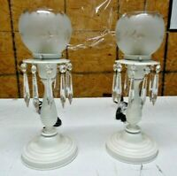 Vintage pair brass table lamps w/ prisms etched shades boudoir refurbished (LS)