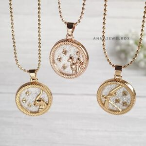 12 Star Horoscope Astrology Zodiac Birth Sign Chain Necklace Gold Coin Gift UK