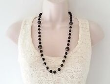 "Gorgeous 26"" long boho style black bead & vintage silver tone long necklace"