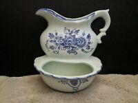 Vintage Decorama Made in Japan 1960's Blue Bowl & Pitcher Double Wall Pocket