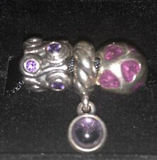 Authentic Pandora Silver 925 ALE Charms 3 X Purple Amethyst And Dangle, Hearts