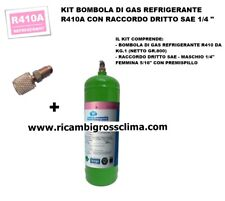 """KIT GAS REFRIGERANTE R410A-BOMBOLA KG.1 (NETTO GR.800) CON RACCORDO DRITTO 1/4"""""""