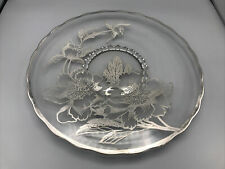 "Vintage Sterling Silver Overlay Glass Platter  14"" Scalloped Flowers and Leaves"