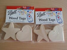 BALL WOOD TAGS NIP 192 PIECES STAR HEART GIFTS CANNING ARTS CRAFTS SCRAPBOOKING