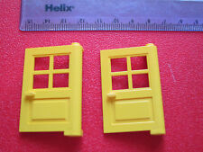 Lego 2 x Modern Hinged House Door with 4 Window YELLOW - also Black Red White