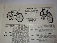 VINTAGE 1950s DIXIE BICYCLE WHOLESALE PARTS & ACCESSORIES CATALOG-ROLLFAST BIKES