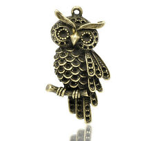 2 Antique Bronze Owl Charm Pendants 45x24mm For Jewellery Or Card Making Craft