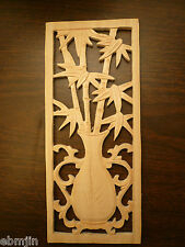 Carved Wood Panel w/Bamboo