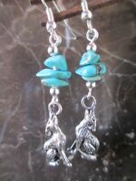 Silver Wolf & Turquoise Artisan Handcrafted Earrings-Wicca Pagan