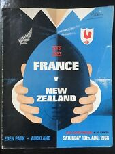 3135 - New Zealand v FRANCE 1968 Rugby Programme 10th Aug All Blacks 10/08/1968
