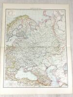 1898 Antik Map Of Russland IN Europa Russisch Reich Alte 19th Century Victorian