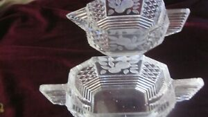 Art Deco pair of cut glass small sugar bowl and milk jug with fab rose etching .