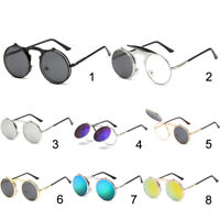 Fashion Retro Vintage Gothic Round Flip Up Sunglasses Steampunk Glasses 、Pop
