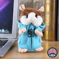 Cheeky Hamster Repeats What You Say Electronic Pet Talking Plush Toy Cute Blue