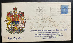 1948 Winnipeg Canada First Day Cover FDC To Los Angeles CA USA New Stamp Issue