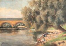 Les lavandières Peinture sur toile XIXe France signée Pourrain vers 1880 lessive