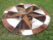 """Star Cowhide Rug Cow Hide Skin Carpet Leather Round patchwork S82 area 40"""" rugs"""